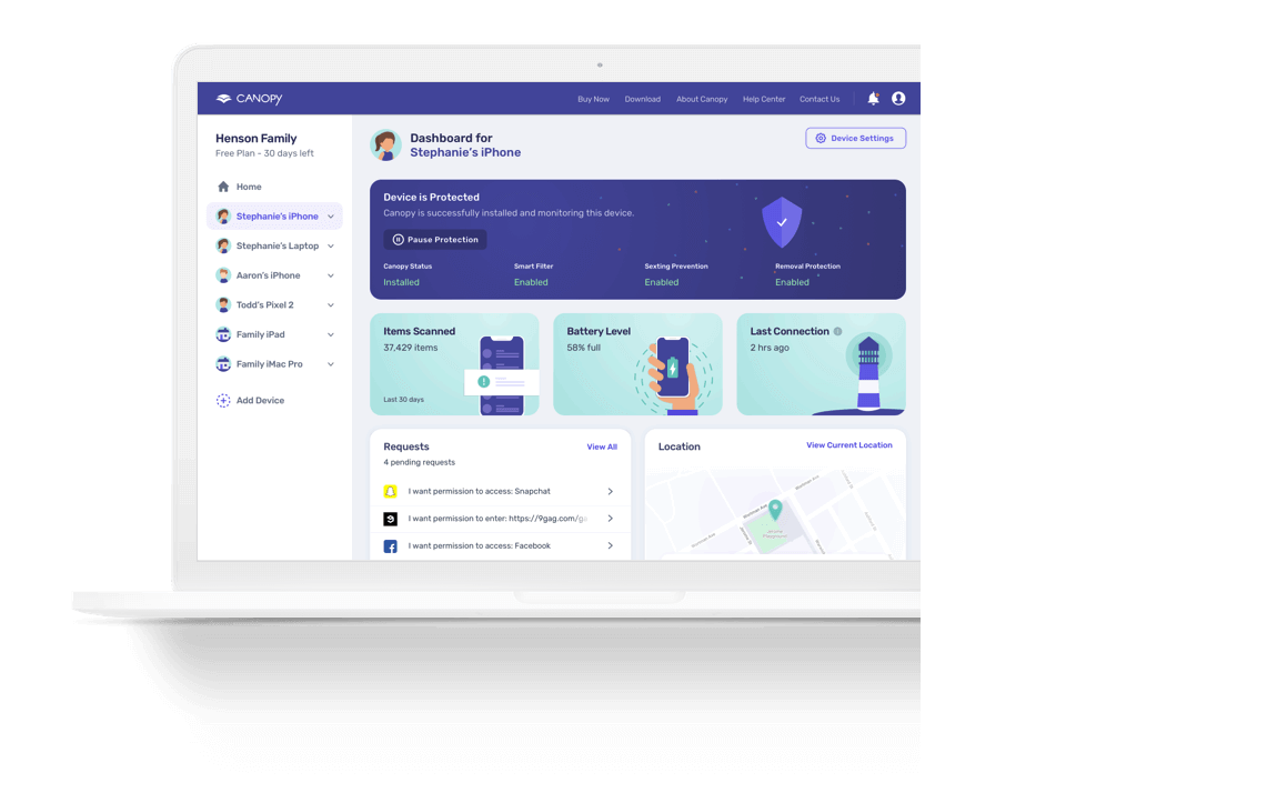 Mackbook parental control app management